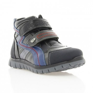 Купить Ботинки детские серые/черные, кожа (001М чн. Шк (шерсть)) Romastyle по лучшим ценам
