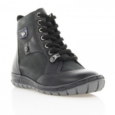 Купить Ботинки детские серые/черные, кожа (002М чн/сір. Шк (шерсть)) Romastyle по лучшим ценам