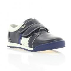 Кроссовки детские синие/белые, кожа (015М сн. Шк) Roma style
