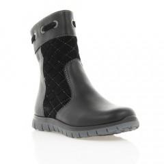 Ботинки детские черные, кожа/замш (036М/16 чн. Шк (шерсть)) Roma style
