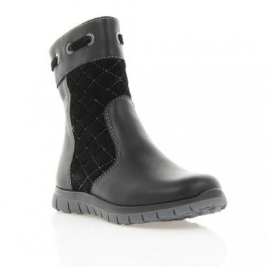 Купить Ботинки детские черные, кожа/замш (036М/16 чн. Шк (шерсть)) Roma style по лучшим ценам