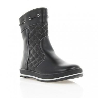 Ботинки детские для девочек, черные, кожа (036М чн. Шк (шерсть)) Roma style