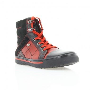 Купить Ботинки детские черные / красные, кожа (037М чн+черв. Шк) Roma style по лучшим ценам