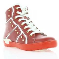 Ботинки детские для девочек, красные, кожа (044М черв. Шк) Roma style