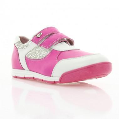 Купить Кроссовки детские для девочек, розовые, кожа (050М рож.+біл. Шк ) Romastyle по лучшим ценам