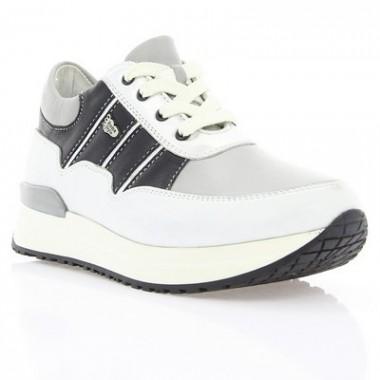 Купить Кроссовки детские серые/белые/черные, кожа (055М сір. Шк+чн.вст) Roma style по лучшим ценам