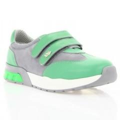 Кросівки дитячі, білі/зелені, шкіра/нубук (061М мята/сіра Шк) Roma style