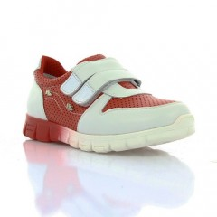 Кросівки дитячі для дівчаток, білі/червоні, шкіра (063М черв/біла Шк) Romastyle