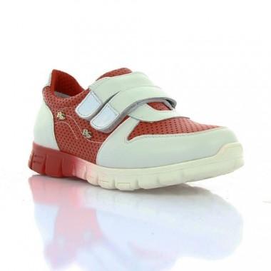 Купить Кроссовки детские для девочек белые/красные, кожа (063М черв/біла Шк) Roma style по лучшим ценам