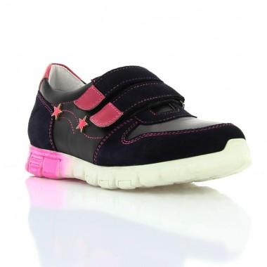 Купить Кроссовки детские для девочек синие/черные/розовые, кожа/замш (063М чн/корал Шк) Romastyle по лучшим ценам