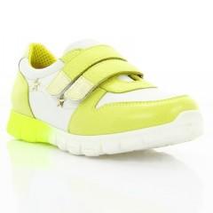 Кроссовки детские, желтые/белые, кожа (063М жовт/біла Шк) Roma style