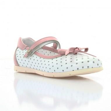 Купить Туфли детские для девочек белые/розовые, кожа (064М біла/рож Шк) Romastyle по лучшим ценам