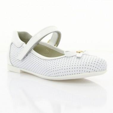 Купить Туфли детские для девочек, белые, кожа (064М біла Шк) Roma style по лучшим ценам
