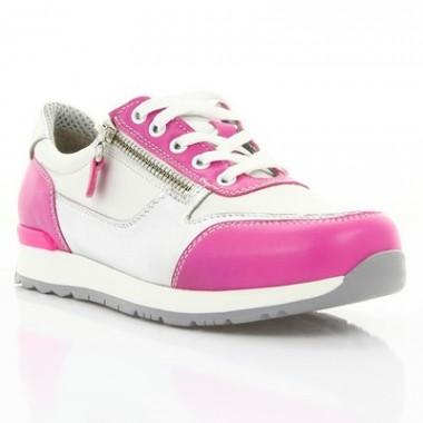 Купить Кроссовки детские для девочек белые/розовые, кожа (066М корал/біла Шк) Roma style по лучшим ценам