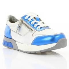 Кросівки дитячі, білі/голубі, шкіра (066М неон/біла Шк) Roma style
