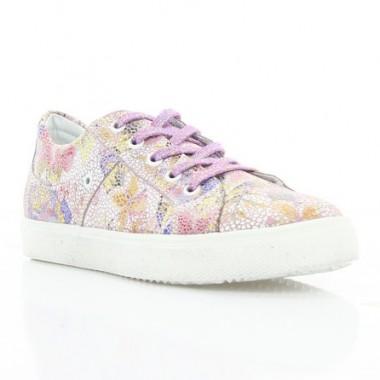 Купити Кросівки дитячі, фіолетові/білі квіти, шкіра (072М/1 квіти Шк) Roma style за найкращими цінами