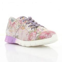 Кросівки дитячі, фіолетові/білі квіти, шкіра (072М квіти Шк) Roma style