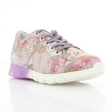 Купить Кроссовки детские, фиолетовые/белые цветы, кожа (072М квіти Шк) Roma style по лучшим ценам