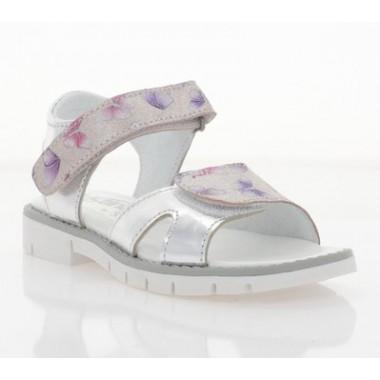 Купить Босоножки детские для девочек, серебряные/бабочки, кожа (075М метелики Шк) Roma style по лучшим ценам
