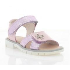 Босоножки детские для девочек, розовые/фиолетовые, кожа/лакированная кожа (075М рож. Лк) Roma style