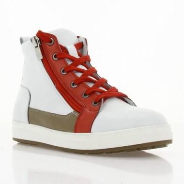 Ботинки детские белые/красные, кожа (078 M біл. Шк_черв (шк.п)) Roma style