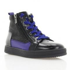 Ботинки детские черные/фиолетовые, лакированная кожа/кожа (078 M чн. Лк_фіол (байка)) Roma style