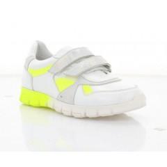 Кросівки дитячі, білі/салатові, шкіра (081М біл. Шк+сал. Лк) Roma style