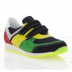 Кроссовки детские, черные/зеленые/желтые, замша (082М чн/зел. Зш_жовт) Roma style