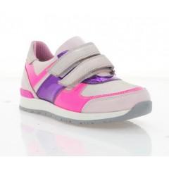 Кроссовки детские для девочек, розовые/фиолетовые, кожа (082М рож. Шк) Roma style