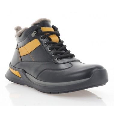 Ботинки мужские черные/желтые, кожа (1004-20 чн.Шк_жовт (Ш)) Roma style