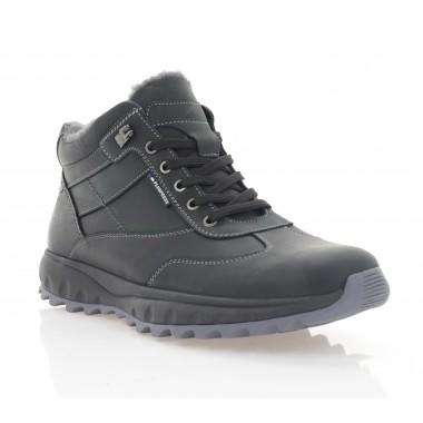 Ботинки мужские черные, кожа (1004-21 чн.Шк (шерсть)) Roma style