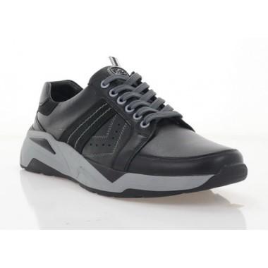 Кросівки чоловічі чорні, шкіра (1036-21 чн. Шк Roma style