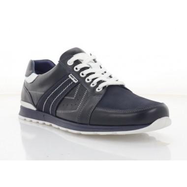 Кросівки чоловічі сині, шкіра/нубук (1036-21 сн. Шк+Нб) Roma style