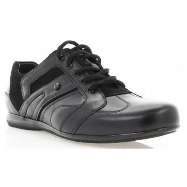 Купить Кроссовки мужские черные, кожа (1053 чн. Шк) Roma style по лучшим ценам