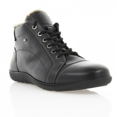 Ботинки мужские черные, кожа (1106-17 чн. Фл (шерсть)) Roma style