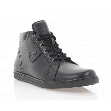 Ботинки мужские черные, кожа (1117-20 чн. Шк (шерсть)) Roma style