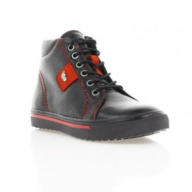 Ботинки детские черные/красные, кожа (1117М чн. Шк+черв.вст) Roma style