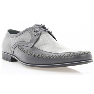 Купить Туфли мужские серые, кожа (1124 сір. Шк) Roma style по лучшим ценам