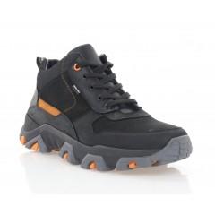 Кросівки чоловічі чорні/оранжеві, шкіра/нубук (1221-20 чн. Шк_оранж (байка) ) Roma style