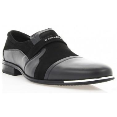 Купить Туфли мужские черные, кожа/велюр (1307 чн. Шк+Вл) Roma style по лучшим ценам