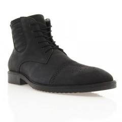 Ботинки мужские черные, нубук (1434 чн. Нб (нат. хутро)) Romastyle