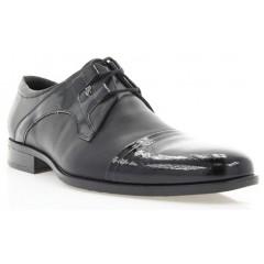 Туфли мужские черные, кожа/лакированная кожа (1513 чн. Шк+Лк) Roma style