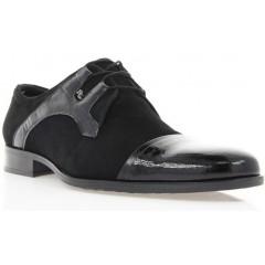 Туфли мужские черные, велюр/лакированная кожа (1513 чн. Вл+Лк) Roma style