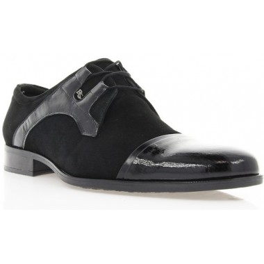 Купить Туфли мужские черные, велюр/лакированная кожа (1513 чн. Вл+Лк) Roma style по лучшим ценам