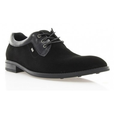 Купити Туфлі чоловічі чорні, велюр/шкіра (1531/17 чн. Вл+Шк) Roma style за найкращими цінами