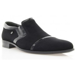 Туфли мужские черные , велюр/лакированная кожа (1546/16 чн. Вл) Romastyle