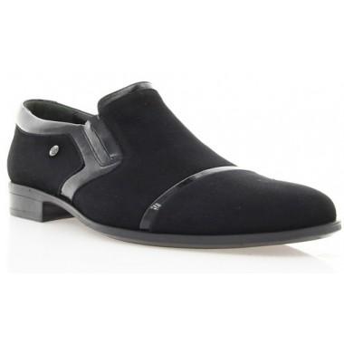 Купить Туфли мужские черные , велюр/лакированная кожа (1546/16 чн. Вл) Romas tyle по лучшим ценам
