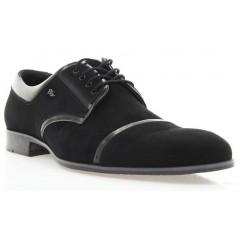 Туфли мужские черные , велюр/лакированная кожа (1546 чн. Вл+Лк ) Romastyle