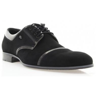 Купити Туфлі чоловічі чорні, велюр/лакована шкіра (1546 чн. Вл+Лк) Roma style за найкращими цінами
