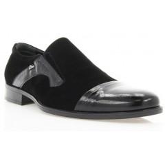 Туфли мужские черные, лакированная кожа/велюр (1549 чн. Вл+Лк) Roma style